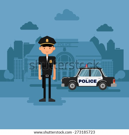 Concept policeman at work. Police in cartoon style. - stock vector