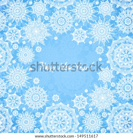 Concept seamless pattern with snowflakes and place for your text. Light winter background. It can be used for decorating of invitations, greeting cards, decoration for bags. - stock vector
