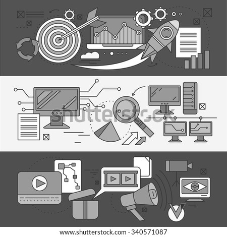 Concept search engine optimization. Analytic and analysis, development startup, diagram and statistic, management strategy, promotion project illustration. Set of thin, lines icons - stock vector