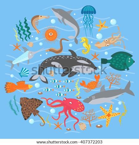 Concept Set of Cute Sea animals fish. Vector illustration. Sea animals set, Sea animals illustration, Sea animals flat image, Sea animals collection. - stock vector