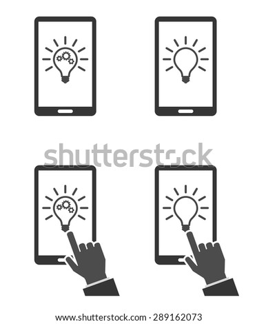 concept smartphone with lightbulb icon - stock vector