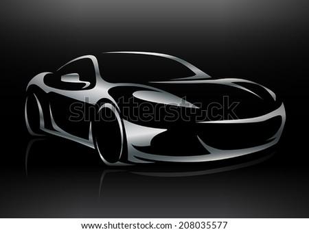 Concept Sportscar Vehicle Silhouette 2 - stock vector