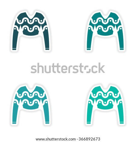 concept stylish paper sticker on white background sweater - stock vector