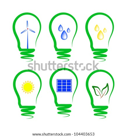 concept, symbolizing the different types of alternative energy - stock vector