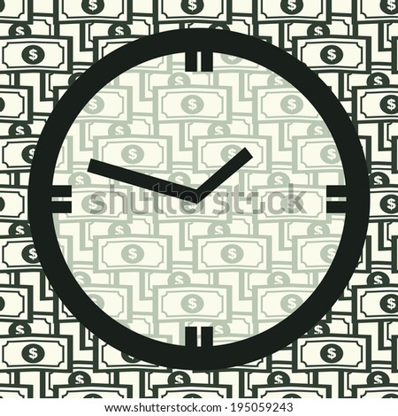 Concept Time Is Money. Clock on Seamless Pattern with Dollar Bills. Vector Background for Business. Bucks Currency. - stock vector