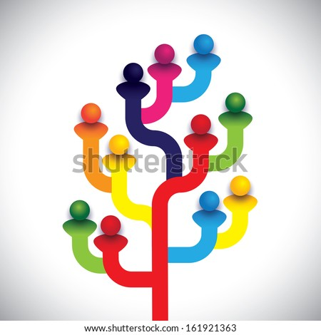 concept tree of company employees working together as a team. The vector graphic represents the structure of a company with people, relationship between close circle of family members - stock vector