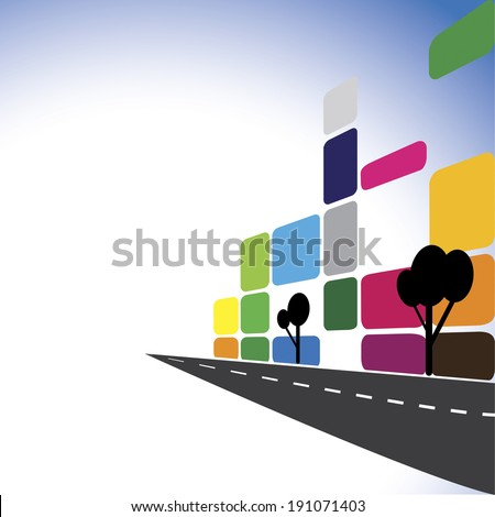 Concept vector - Colorful office buildings, apartments, skyscrapers. The graphic illustration also represents city downtown with modern roads, building, real estate industry, commercial complexes - stock vector
