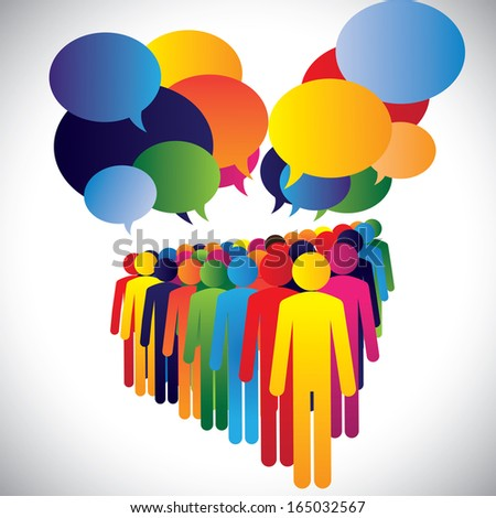 Concept vector - company employees interaction & communication. This graphic can also represent leadership concept, teamwork, meeting, employee discussions, people expressing opinions, group chat, etc - stock vector