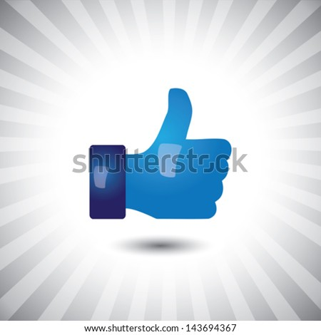 Concept vector- glossy, stylish social media like hand icon(Symbol). The illustration shows a shiny like sign or icon used in social media websites like facebook, etc - stock vector