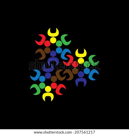 Concept vector graphic- abstract children or workers teams as gears. The illustration represents concepts like worker unions, employee diversity, community friendship & sharing, kids playing, etc - stock vector