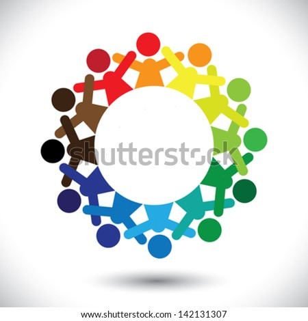 Concept vector graphic- abstract colorful children playing icons ( signs ). The illustration represents concepts like workers, employee diversity, community friendship & sharing, kids enjoying, etc - stock vector