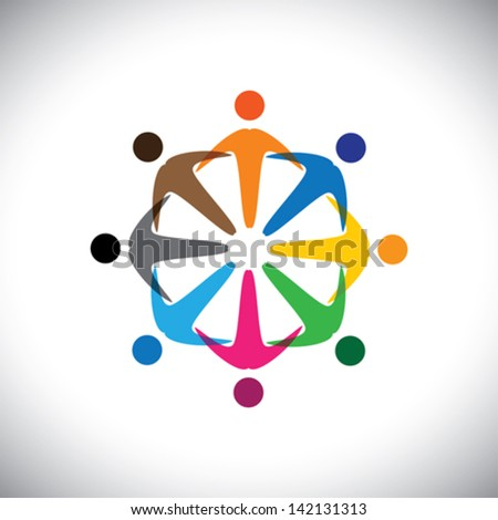 Concept vector graphic- abstract colorful people diversity icons ( signs ). The illustration represents concepts like worker, employee diversity, community friendship & sharing, kids playing, etc - stock vector