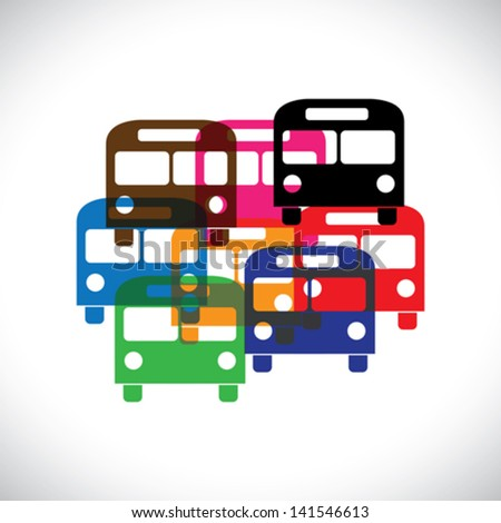 Concept vector graphic- abstract colorful transport bus icons ( signs ). The illustration represents public transport in blue, red, orange, yellow, black & green colors - stock vector