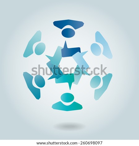Concept vector graphic- leader & workers talking ( speech bubbles ). This Vector represents people diversity, teamwork, employee conversation & interaction, worker discussions and more. - stock vector