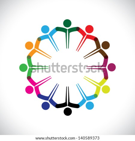 Concept vector graphic- people or kids icons with hands together. This illustration can also represent people meeting, teamwork, network, employee unity & diversity, children playing, etc - stock vector