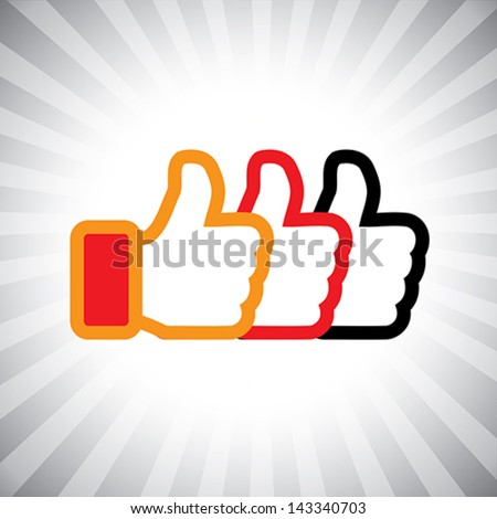 Concept vector graphic- social media like hand icons ( signs ) set used in sites like facebook. The illustration shows three thumbs up signs in orange, red and black colors - stock vector