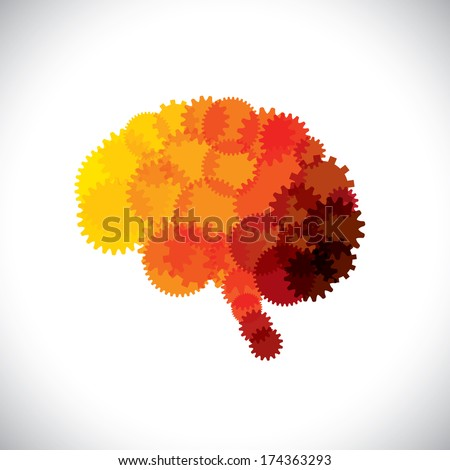 concept vector icon of abstract brain or mind with cogwheels. This orange yellow red brain graphic represents human brain efficient functioning machinery made of gears & producing solutions & ideas - stock vector