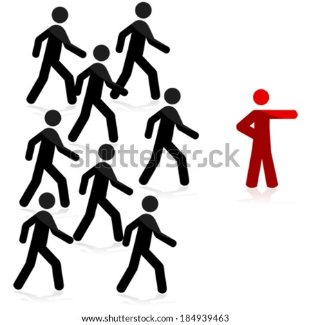 Concept vector illustration showing a red man pointing forward and a group of people following - stock vector