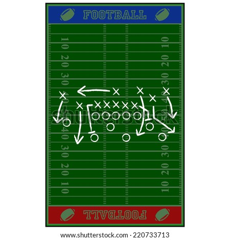 Concept vector illustration showing an American football field with a gameplan sketched over it - stock vector