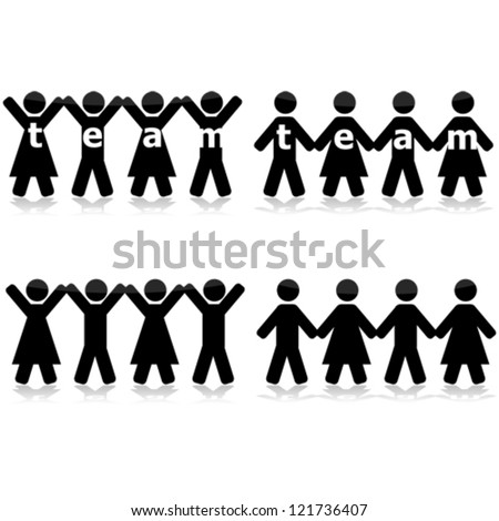 Concept vector illustration showing different groups of people holding hands to show their strength as a team - stock vector