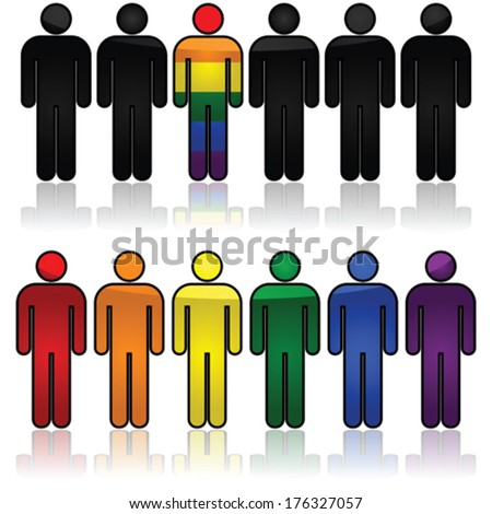 Concept vector illustration showing outlines of people, some in the colors of the rainbow flag - stock vector
