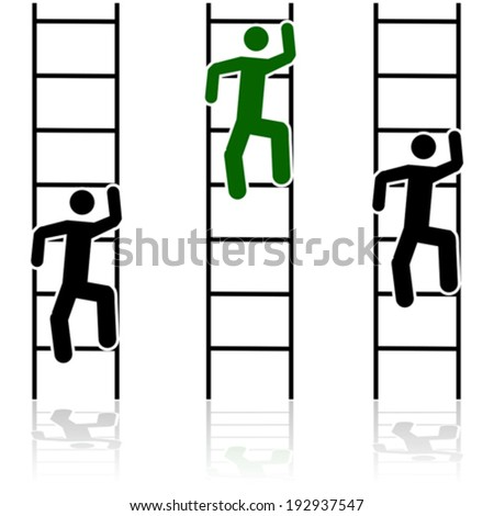 Concept vector illustration showing three different people climbing ladders - stock vector