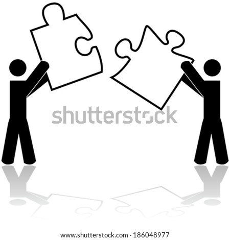 Concept vector illustration showing two people carrying matching puzzle pieces - stock vector