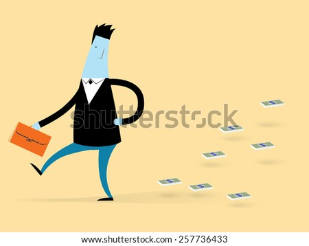 Concept vector illustration with business man cartoon character with money - stock vector