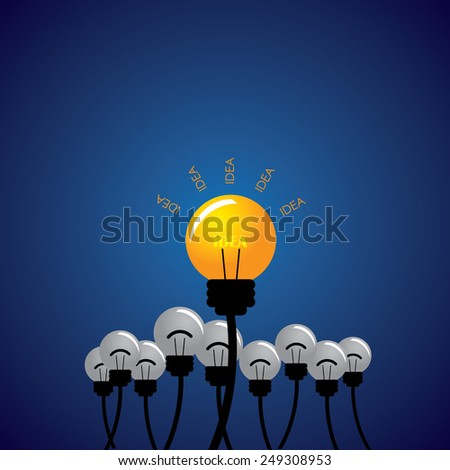 concept vector of being strong, out think the competition. This also represents being different, thinking differently, taking new path, individuality, creativity, boldness, enterprise, entrepreneur  - stock vector