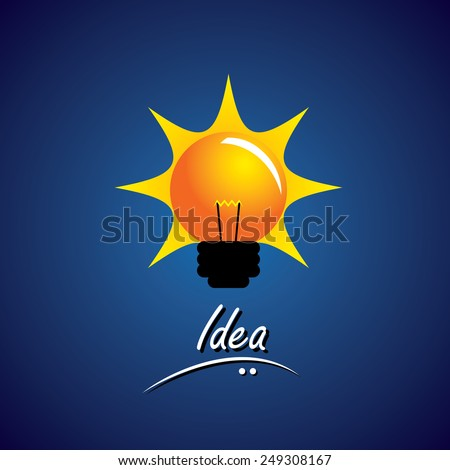 concept vector of bulb glowing bright with smart ideas. This also represents problem solving, creative thinking, smart work, innovative solutions, intuitive mind, fertile thought, wise ideas - stock vector