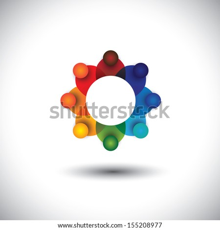 concept vector of employees or executives or workers meeting. The graphic also represents social media communication, school kids playing, workers engagement, employee interactions - stock vector
