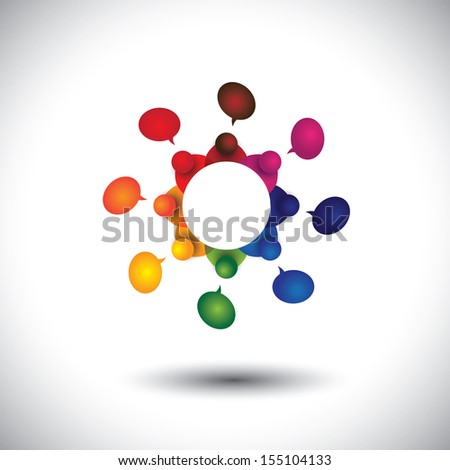 concept vector of school kids talking or employee meeting in circle. The graphic also represents social media interaction & engagement, children talking in school, employee discussions, community talk - stock vector