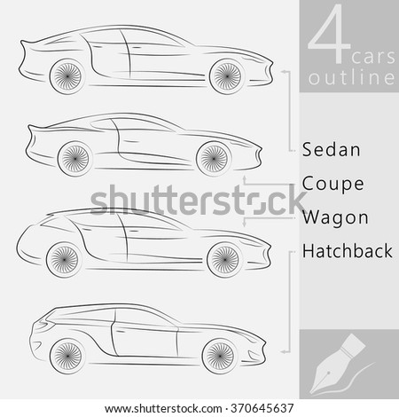 Concept Vehicle Silhouette. Variants of Car Body Vector Outlines Isolated - stock vector