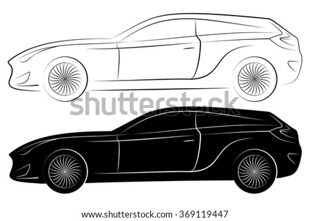 Concept Vehicle Silhouette. Vector Car Outlines Isolated On White Background - stock vector