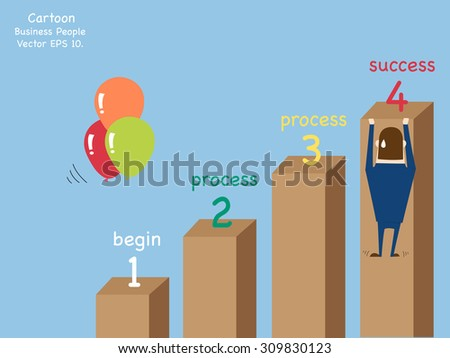 Concept with Business cartoon people work hard for success, Vector Illustration EPS 10. - stock vector