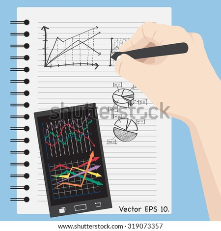 Concept with hand write Finance graph diagram on notebook with mobile phone interface, Vector Illustration EPS 10. - stock vector