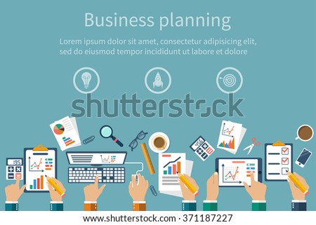 Concepts business, teamwork analyzing, planning, meeting, analyzing project, strategy, project, brainstorming, research, development, financial management, marketing research. Vector flat design - stock vector