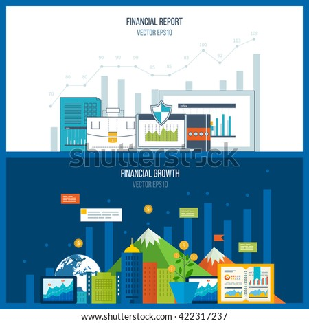 Concepts for business analysis and planning, teamwork, financial report and strategy. Business diagram graph chart. Investment growth. - stock vector