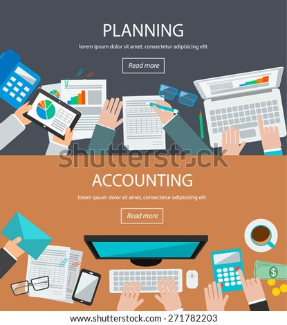 Concepts for business planning and accounting, analysis,  audit, project management, research and development in flat design style. Web banners set  with people,  laptop,  computer, tablet, phone - stock vector