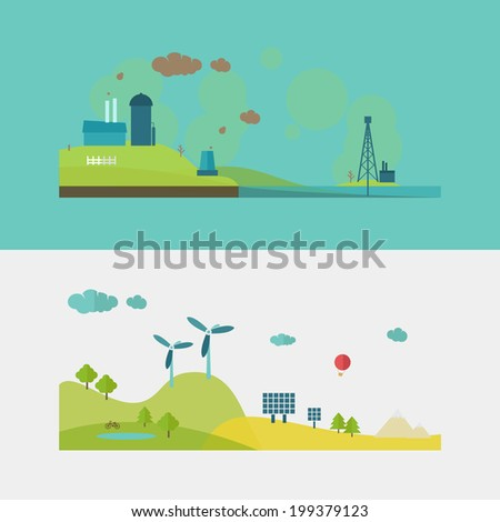 Concepts for ecology, recycling and green technology illustrations. - stock vector