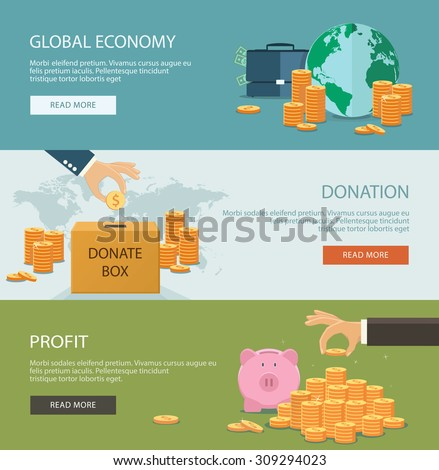 Concepts for finance and stock market, investing, making money, profit, piggy bank, donation. Flat style. Can be used for infographics, web design, diagram, banners, promotional materials, etc. - stock vector