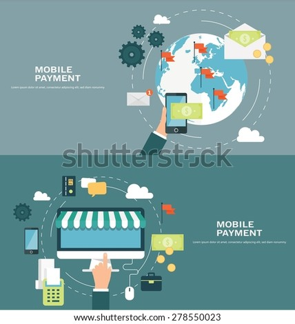 Concepts for web banners and promotions. Flat design concept for mobile payment - stock vector