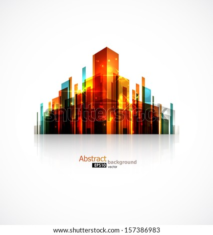 Conceptual abstract city image. EPS10 vector background. - stock vector