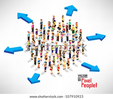 conceptual arrow with a lot of people icon vector design - stock vector