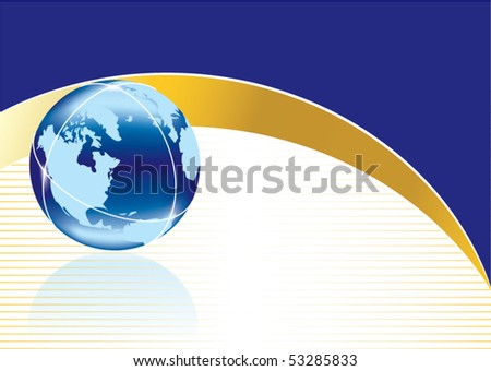 Conceptual business background with globe in editable vector format - stock vector