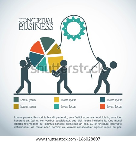 conceptual business over gray background vector illustration - stock vector