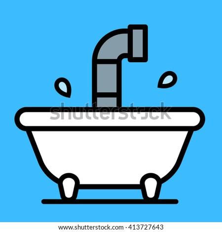 Conceptual cartoon bathtub with a periscope rising above the water from a submersible craft over a blue background, vector illustration - stock vector