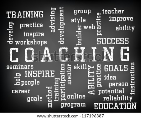 Conceptual coaching word cloud written on black chalkboard and white chalk. Presentation template. Vector Illustration. - stock vector
