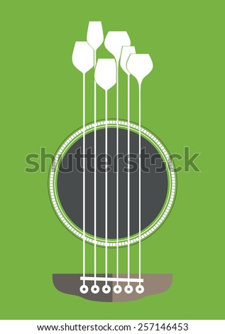Conceptual creative illustration with acoustic guitar hole and wine glasses as the strings - stock vector