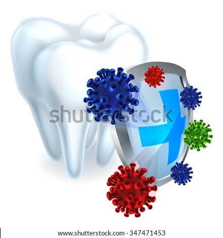 Conceptual dental illustration of a shield protecting a tooth from bacteria - stock vector